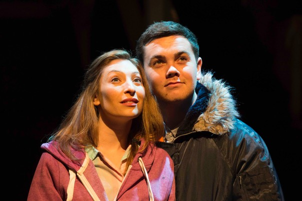 Jess Robinson as Little Voice and Ray Quinn as Billy. Photo Credit Paul Coltas
